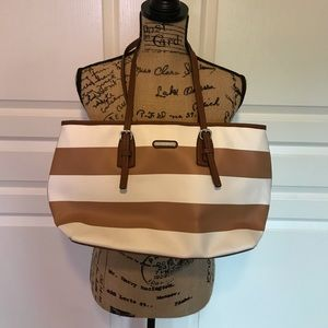 Dana Buchman Tote, tan and white stripes